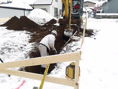 基礎工事開始(旭川近郊の工務店ならミヤザキホーム)