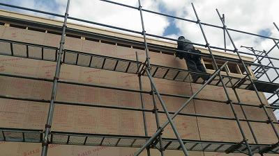 構造用合板張り2日目(旭川近郊の工務店ならミヤザキホーム)