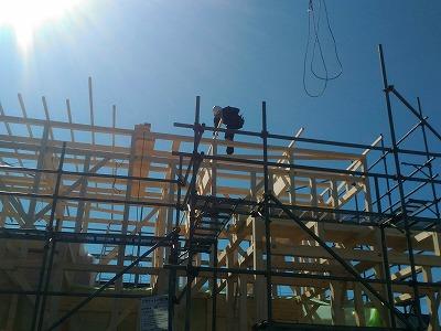 建て方2日目(旭川近郊の工務店ならミヤザキホーム)
