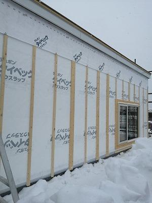 外壁下地取付完了(旭川近郊の工務店ならミヤザキホーム)