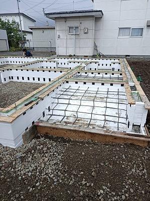 土間コンクリート打設前(旭川近郊の工務店ならミヤザキホーム)