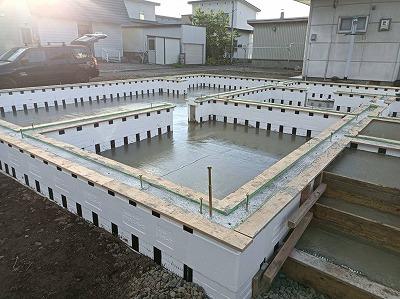土間コンクリート打設完了(旭川近郊の工務店ならミヤザキホーム)